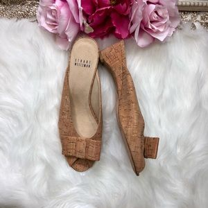 Stuart Weitzman Candy Natural Cork Bow SlideSandal
